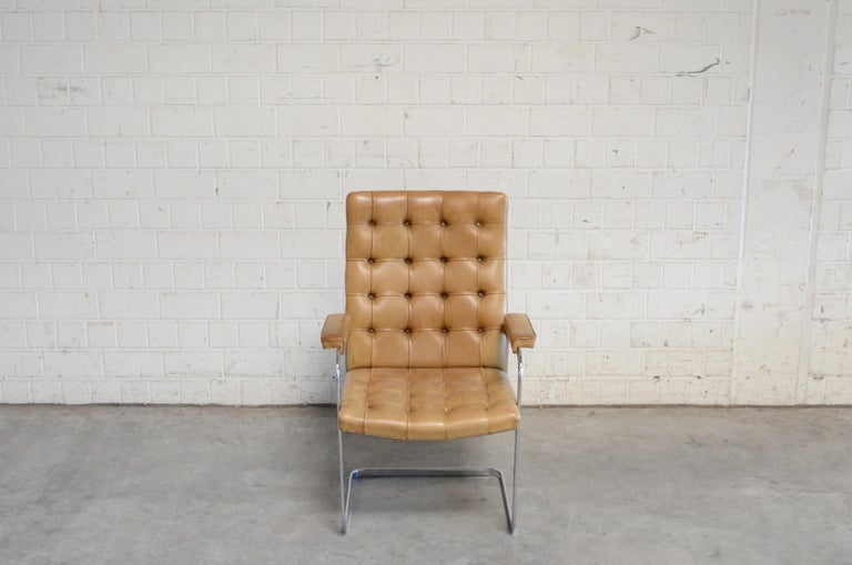 Swiss Robert Haussmann De Sede RH 305 High Back Chair Cognac For Sale