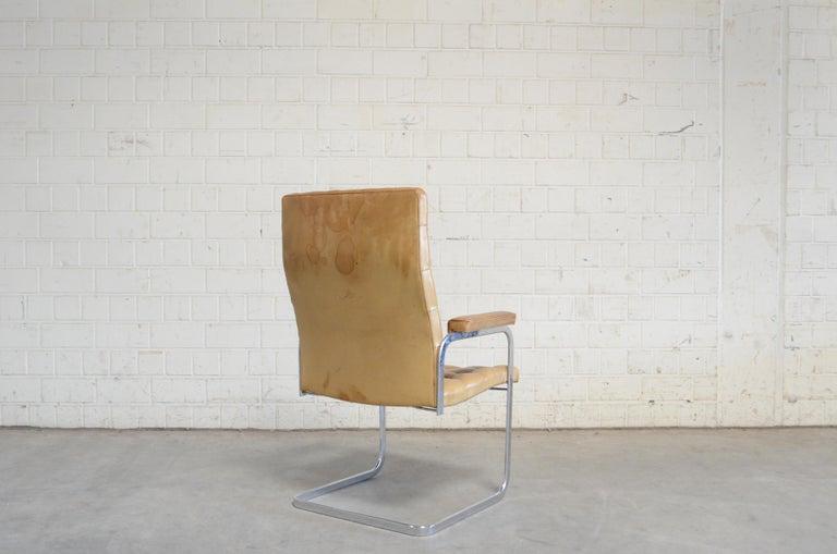 Leather Robert Haussmann De Sede RH 305 Highback Chair Cognac For Sale