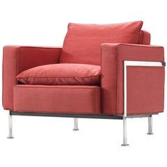 Robert Haussmann for De Sede Armchair in Red Fabric and Steel