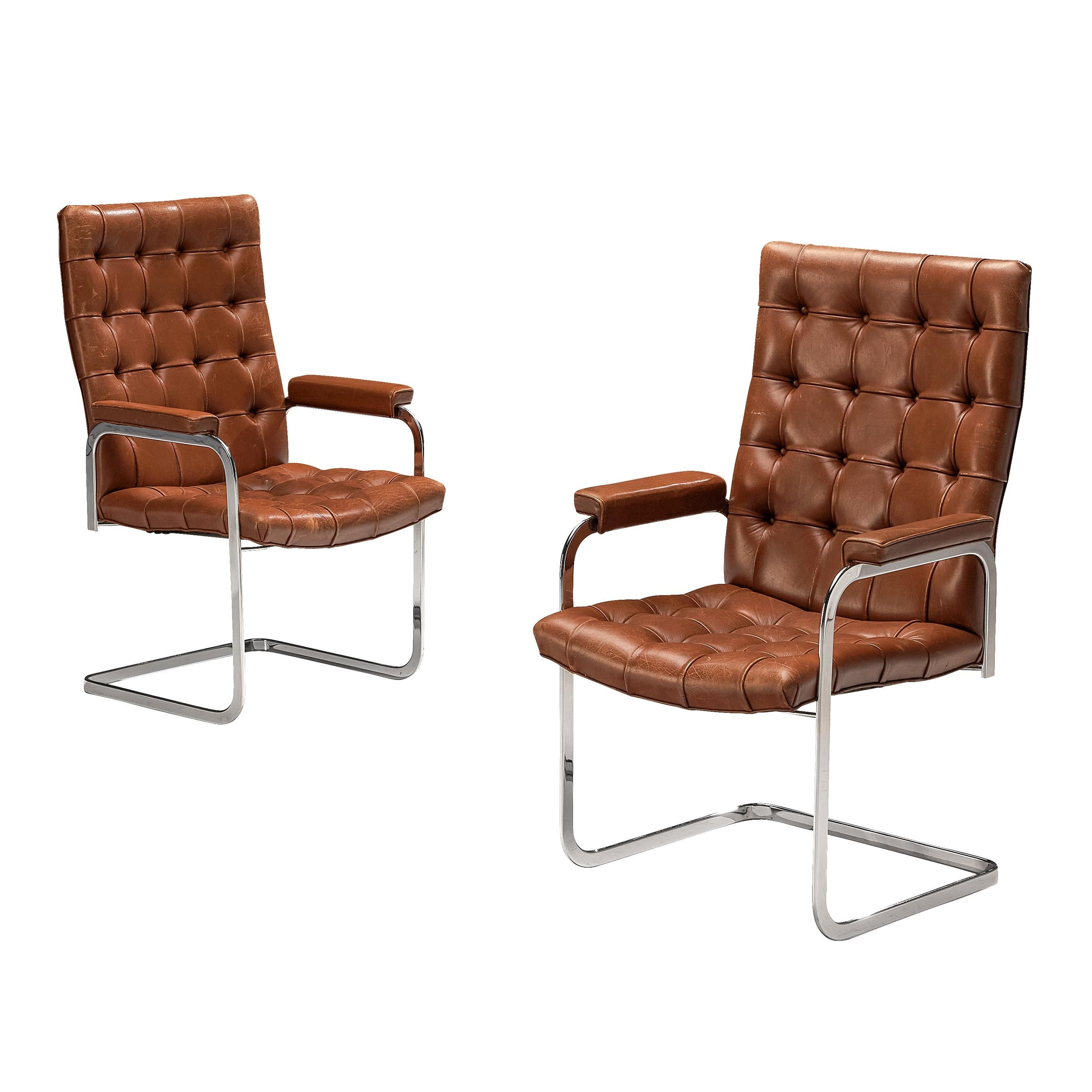 Robert Haussmann for De Sede Armchairs 'RH-304' in Brown Leather