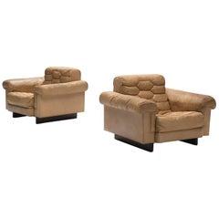 Robert Haussmann for De Sede Cognac Leather Club Chairs
