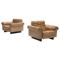 Robert Haussmann for De Sede Pair of Beige Leather Club Chairs