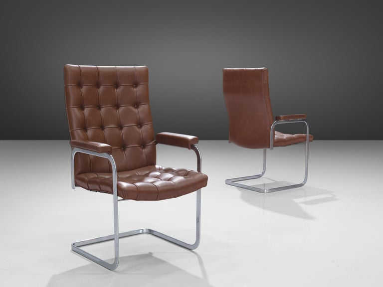 Mid-Century Modern Robert Haussmann for De Sede Set of Eight Armchairs 'RH-304' in Brown Leather For Sale