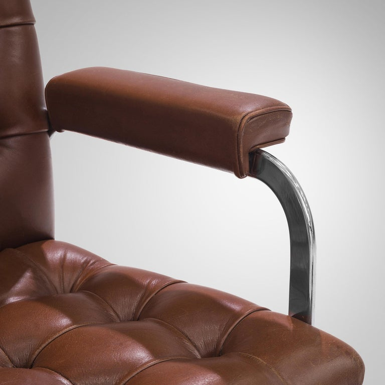 Swiss Robert Haussmann for De Sede Set of Eight Armchairs 'RH-304' in Brown Leather For Sale