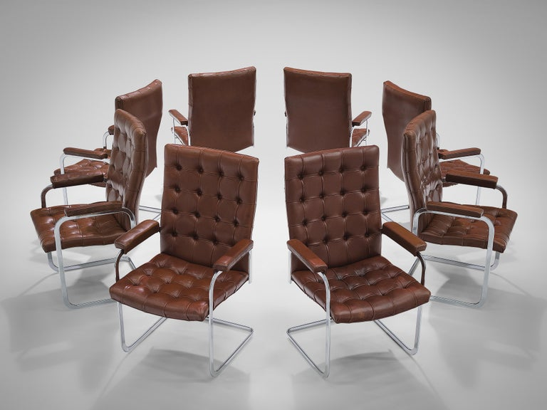 Robert Haussmann for De Sede Set of Eight Armchairs 'RH-304' in Brown Leather In Good Condition For Sale In Waalwijk, NL
