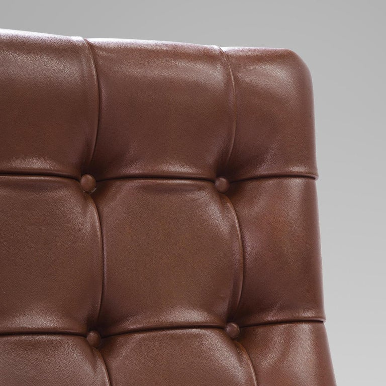 Mid-20th Century Robert Haussmann for De Sede Set of Eight Armchairs 'RH-304' in Brown Leather For Sale