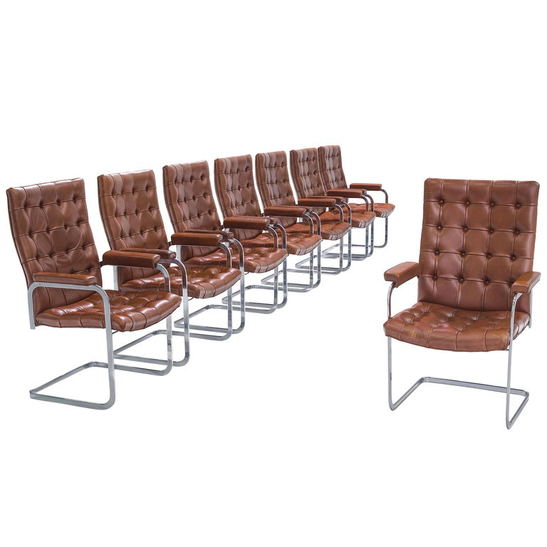 Robert Haussmann for De Sede Set of Eight Armchairs 'RH-304' in Brown Leather For Sale
