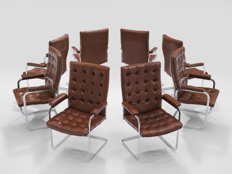 Mid-Century Modern Robert Haussmann for De Sede Set of Eight Leather Chairs  For Sale