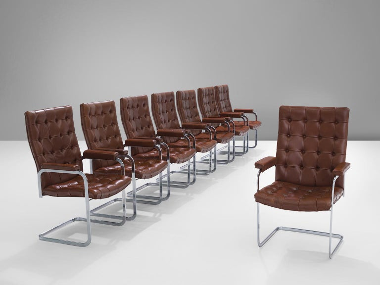 Swiss Robert Haussmann for De Sede Set of Eight Leather Chairs  For Sale