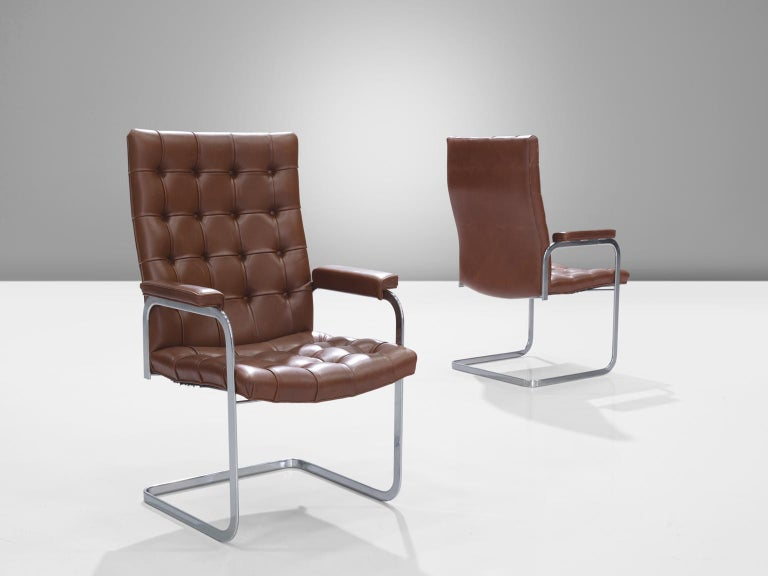Robert Haussmann for De Sede Set of Eight Leather Chairs  In Good Condition For Sale In Waalwijk, NL