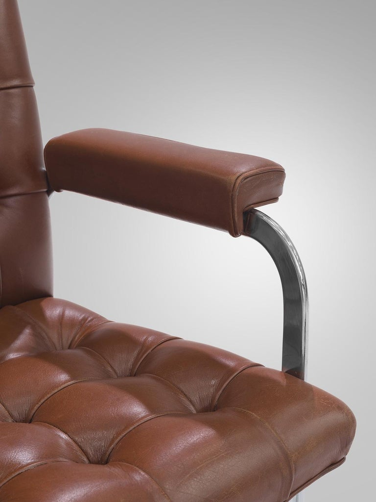 Steel Robert Haussmann for De Sede Set of Eight Leather Chairs  For Sale