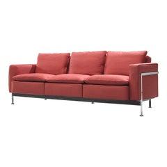 Robert Haussmann for De Sede Sofa RH-302 in Red Fabric Upholstery
