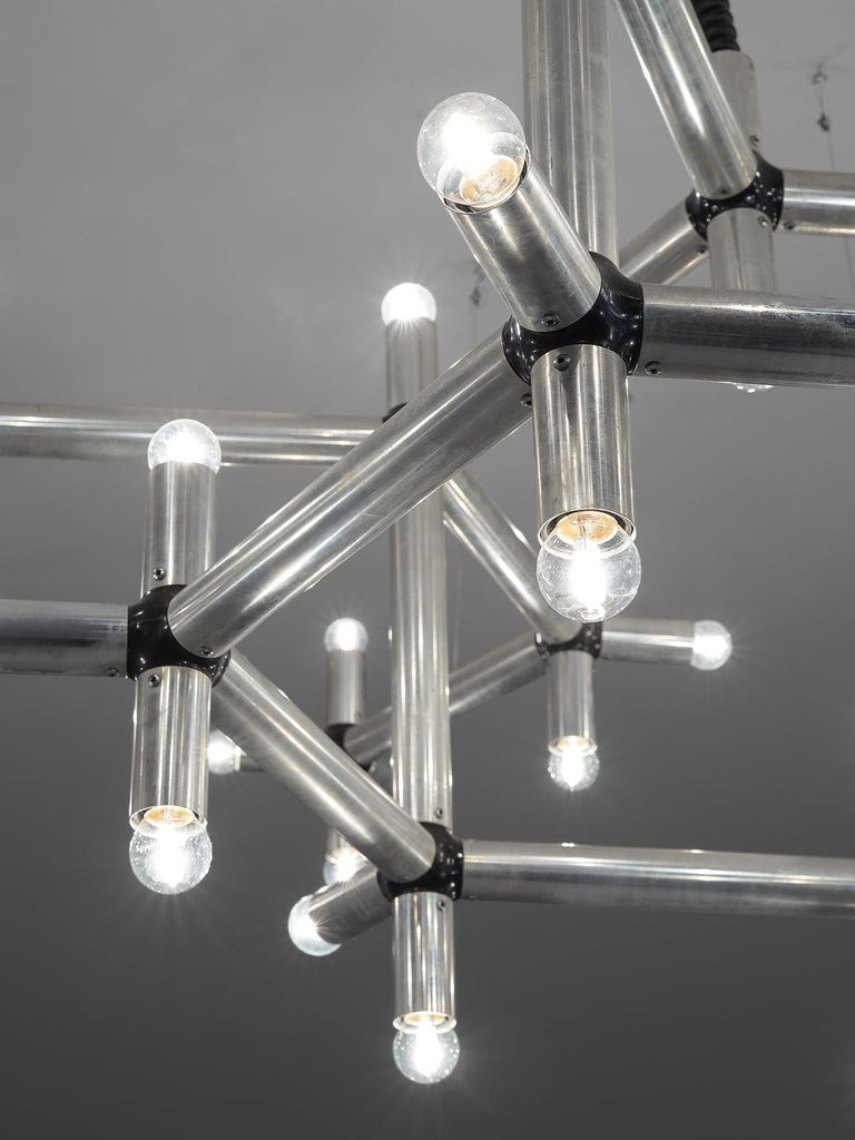 Late 20th Century Robert Haussmann Large Atomic Polished Steel Chandelier For Sale