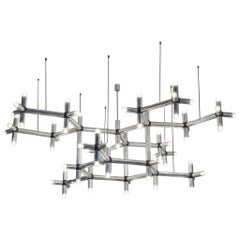 Robert Haussmann Large Atomic Polished Steel Chandelier