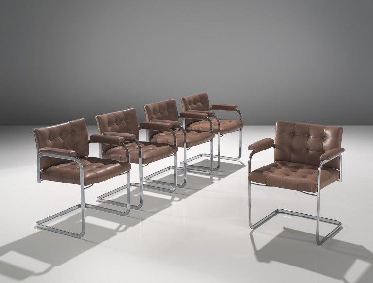 Mid-Century Modern Robert Haussmann Set of Five Leather Armchairs For Sale