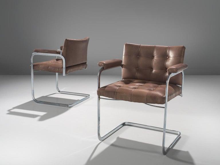 Swiss Robert Haussmann Set of Five Leather Armchairs For Sale