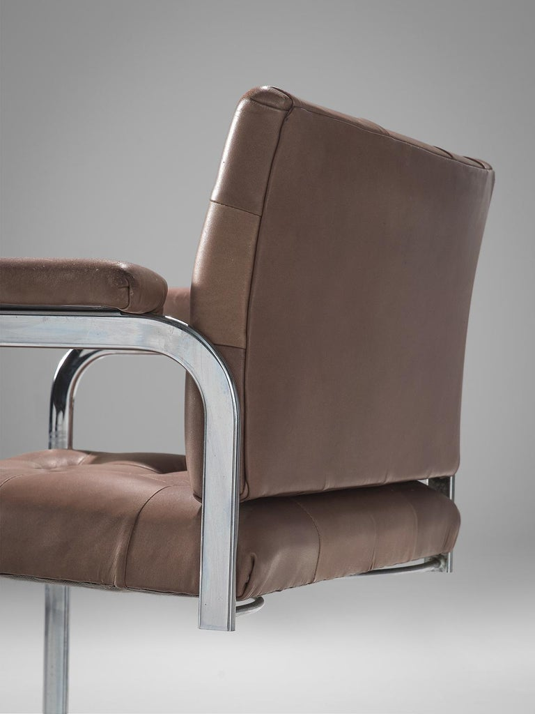 Mid-20th Century Robert Haussmann Set of Five Leather Armchairs For Sale