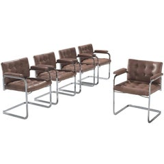 Robert Haussmann Set of Five Leather Armchairs