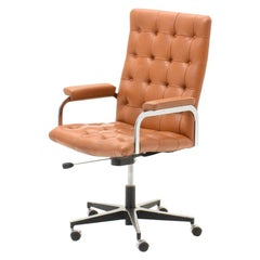 Robert Haussmann Tufted Leather Office Chair Swiss Design 1960 Cognac Colored