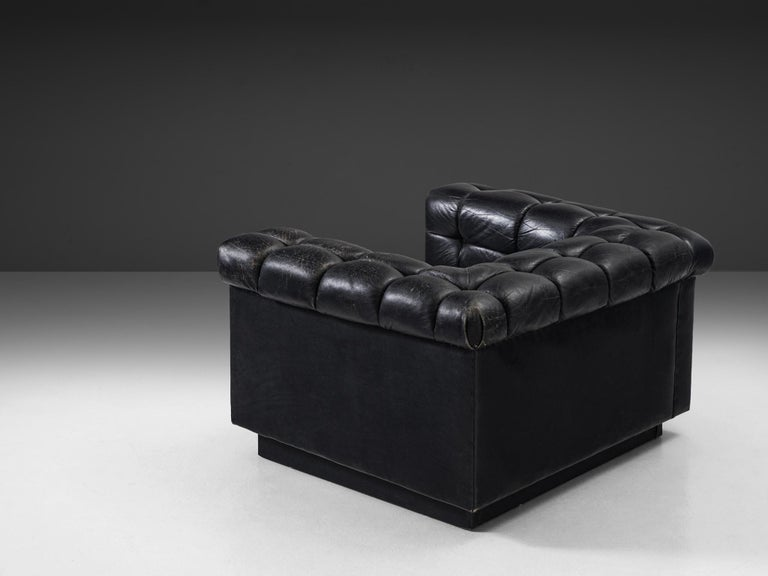 Swiss Robert Haussmann Tufted Lounge Chair in Black Leather For Sale