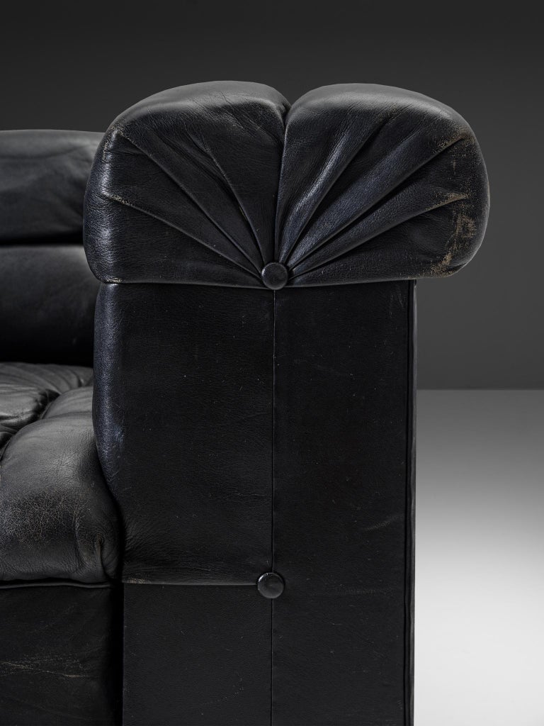 Mid-20th Century Robert Haussmann Tufted Lounge Chair in Black Leather For Sale