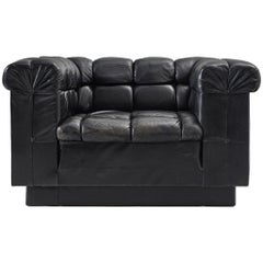Robert Haussmann Tufted Lounge Chair in Black Leather
