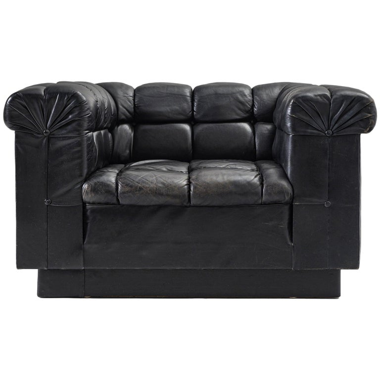 Robert Haussmann Tufted Lounge Chair in Black Leather For Sale