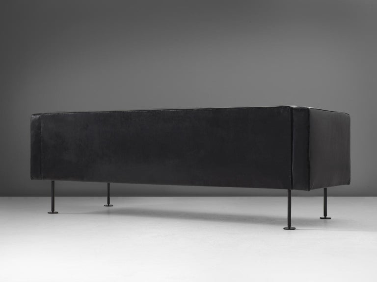 Robert Haussmann Tufted Sofa in Black Leather