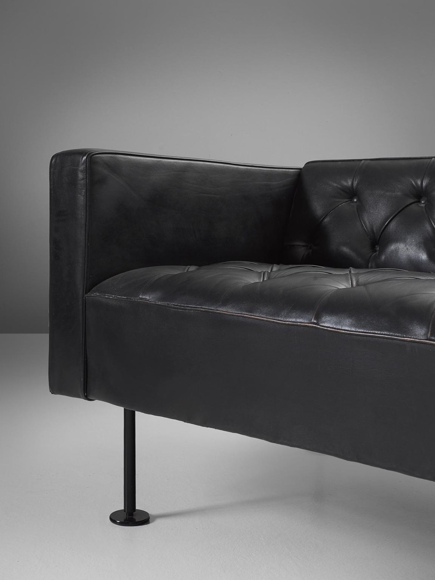 Pleasant Robert Haussmann Tufted Sofa In Black Leather Pabps2019 Chair Design Images Pabps2019Com