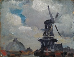"""Windmill near Edam,"" Robert Henri, Haarlem, Dutch Rural Ashcan Scene"