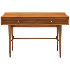 Robert Heritage Desk with Drawers in Satinwood and Brass
