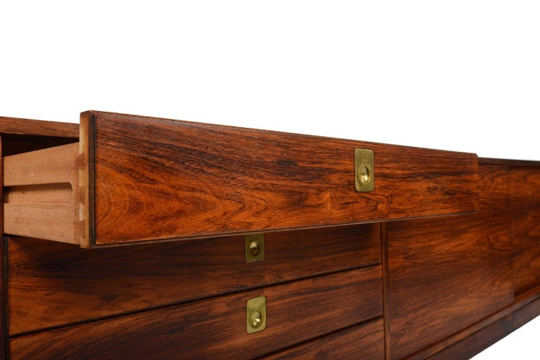 Brass Robert Heritage for Archie Shine Rosewood Credenza For Sale