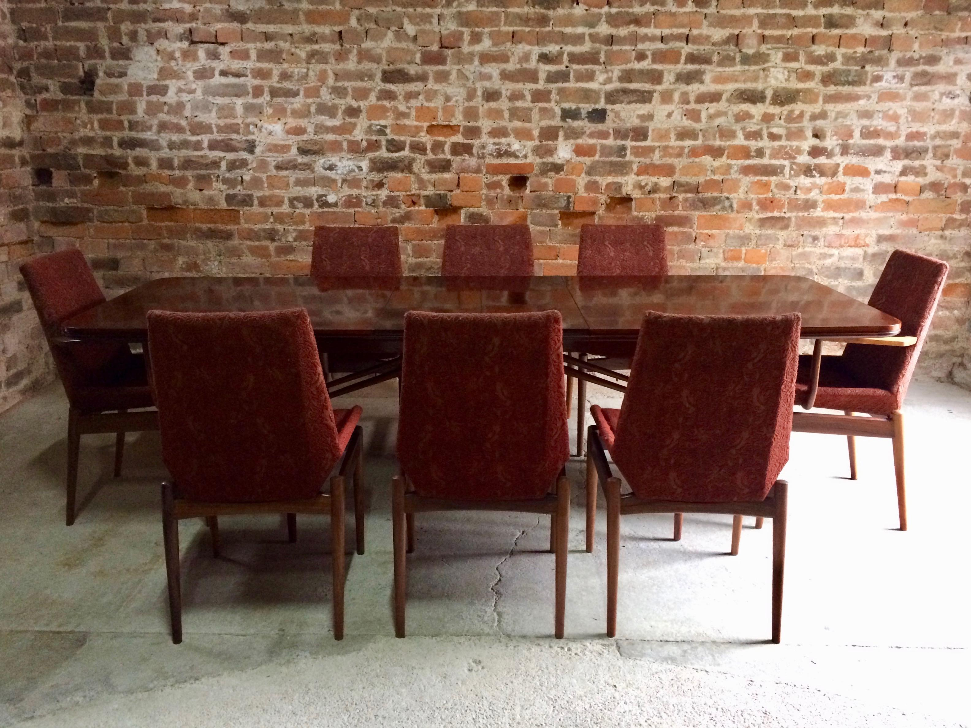 Robert Heritage For Archie Shine Rosewood Dining Table And 8 Chairs Hamilton Range Sale At 1stdibs