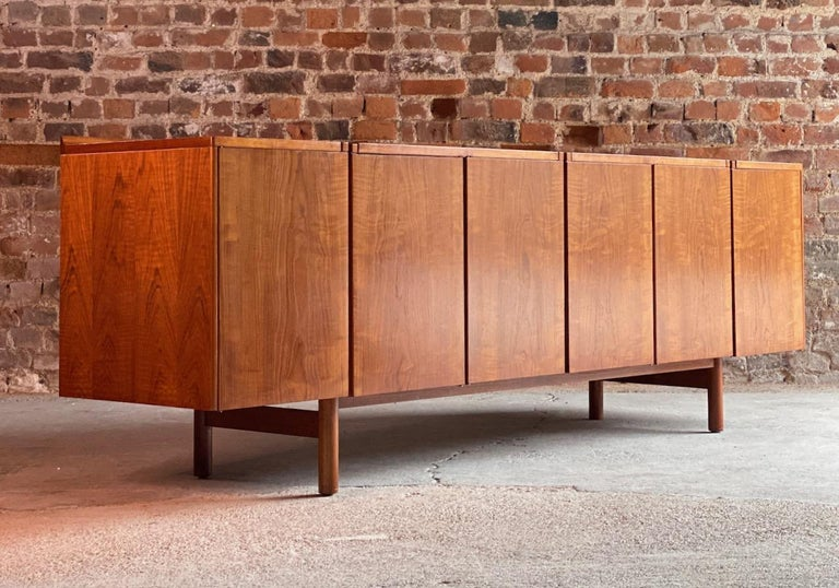 Robert Heritage teak sideboard for Archie Shine, circa 1960  Magnificent midcentury design Robert Heritage for Archie Shine long six door teak sideboard designed by 1960s, the long rectangular top over six cupboard doors with three internal