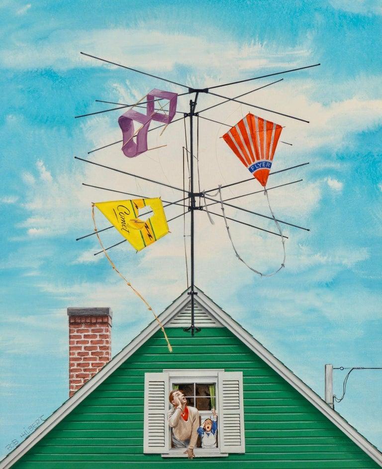 Robert Hilbert Figurative Painting - Kite Catcher