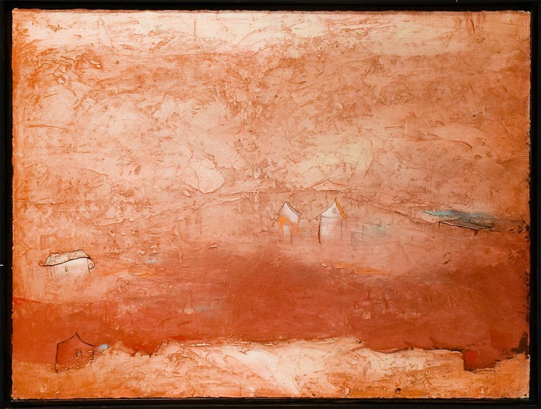 Brother Brother (Abstract Painting of Homes in a Sienna Orange Landscape) For Sale 1