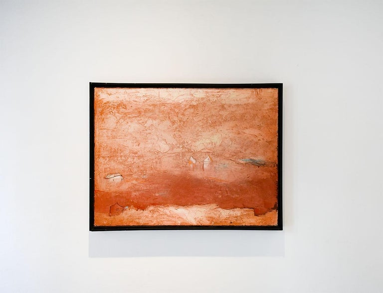 Brother Brother (Abstract Painting of Homes in a Sienna Orange Landscape) For Sale 2
