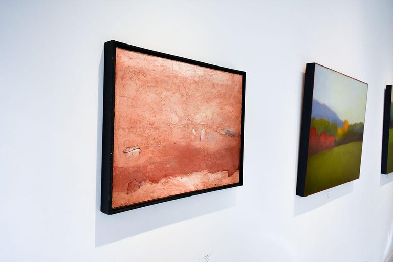 Brother Brother (Abstract Painting of Homes in a Sienna Orange Landscape) For Sale 3