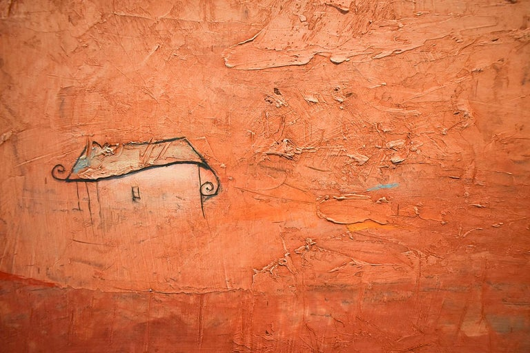 Brother Brother (Abstract Painting of Homes in a Sienna Orange Landscape) For Sale 4