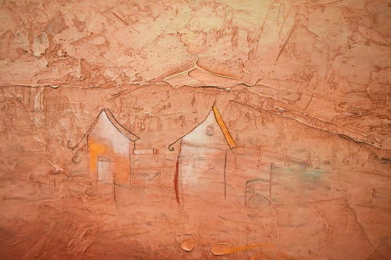 Brother Brother (Abstract Painting of Homes in a Sienna Orange Landscape) For Sale 5