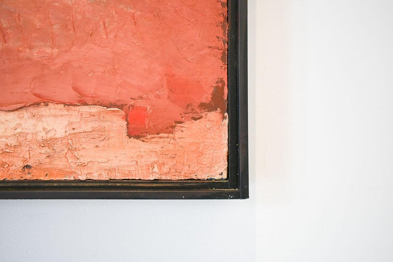 Brother Brother (Abstract Painting of Homes in a Sienna Orange Landscape) For Sale 6