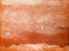 Brother Brother (Abstract Painting of Homes in a Sienna Orange Landscape)