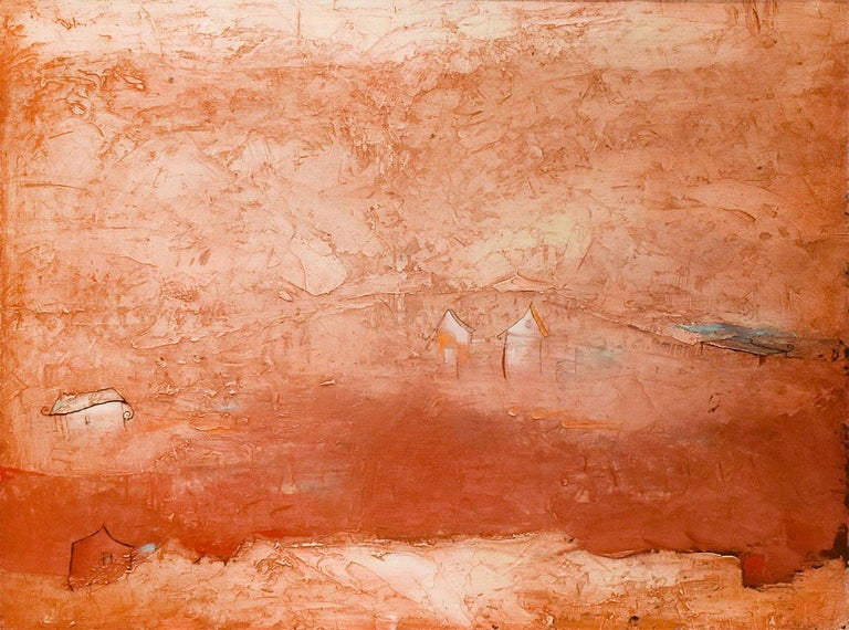 Abstract landscape painting of small houses on a sienna orange background Brother Brother by Robert Hite, painted in 2016 Made with oil paint and mixed media  18 x 24 inches unframed 19.25 x 25 inches framed signed on reverse   This abstract mixed