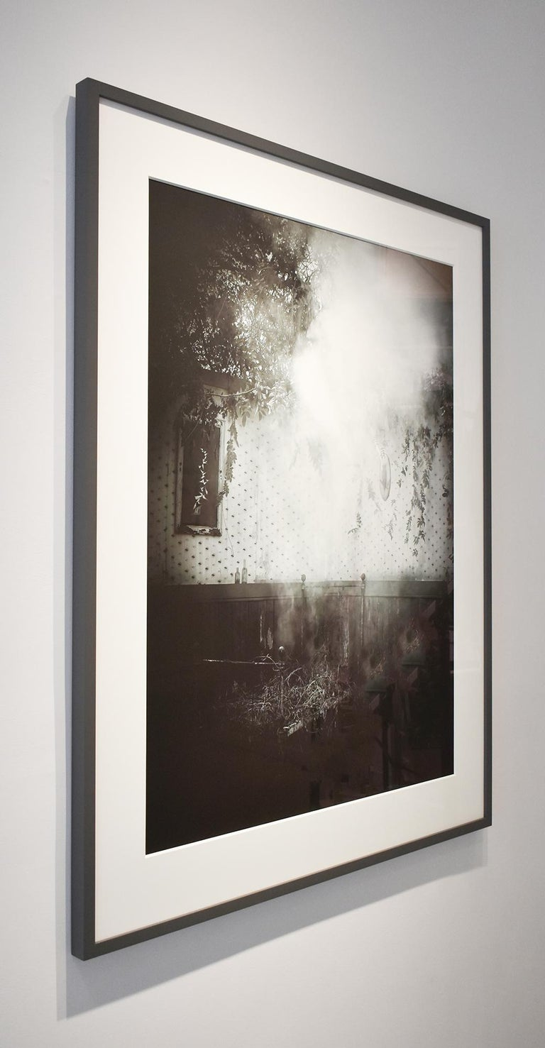 After the Smoke: Modern Black & White Photograph of an Old-Fashioned Interior For Sale 2