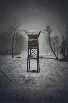 Watch Tower (Contemporary Black & White Landscape Photo of Structure in Woods)