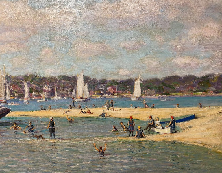 Northport Long Island, New York 1914 - Brown Figurative Painting by Robert Hogg Nisbet