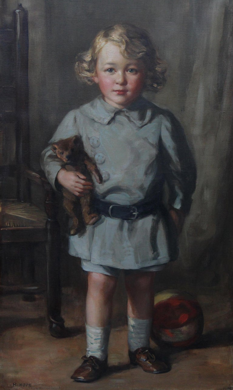Portrait of a Boy with Teddy Bear - Scottish Art exh. RSA Portrait Oil Ppainting For Sale 11