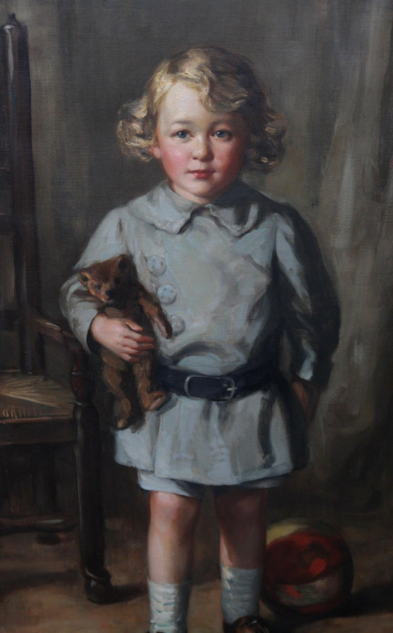 Portrait of a Boy with Teddy Bear - Scottish Art exh. RSA Portrait Oil Ppainting For Sale 2