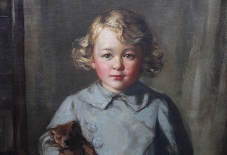 Portrait of a Boy with Teddy Bear - Scottish Art exh. RSA Portrait Oil Ppainting For Sale 3