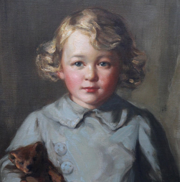 Portrait of a Boy with Teddy Bear - Scottish Art exh. RSA Portrait Oil Ppainting For Sale 4